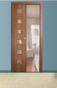 Drzwi z systemem przesuwnym chowanym w ścianie