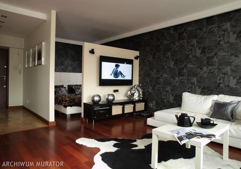 galeria zdj sypialnia w salonie sprytna aran acja salonu z du ym kiem zdj cia. Black Bedroom Furniture Sets. Home Design Ideas