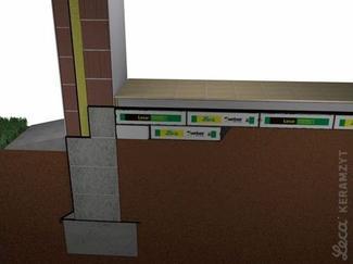Schemat izolacji podłogi keramzytem w workach